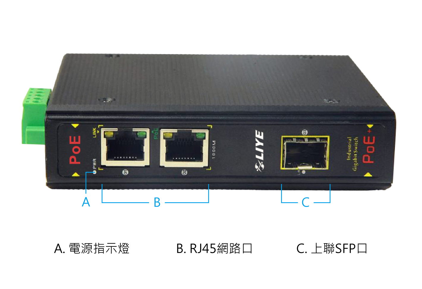 秝業 LY33032PF-IPS 3埠千兆POE供電工業交換機
